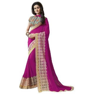 Beautiful, Attractive, Elegant And Gorgeous  (Magenta) Rani Colour Sari Saree With Heavy worked