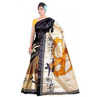 Kvsfab Multicolor Silk Printed Saree Without Blouse