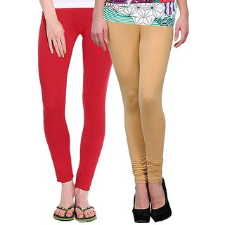 Stylobby Red and Beige Leggings For Girls Pack of 2