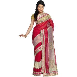 Shree Saree Kunj Pink color Supernet Saree
