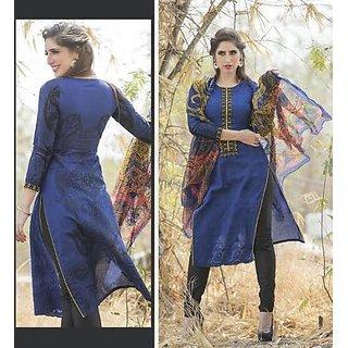 Reeva Blue Cotton Dress Material