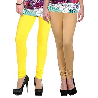 Stylobby Yellow and Beige Leggings For Girls Pack of 2