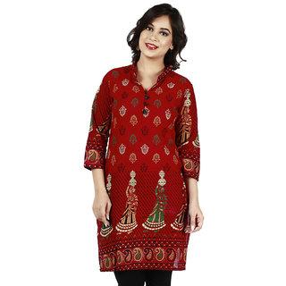 Fashionable Red Kurti In 100  Cotton Rajistani Print For Womens