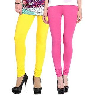 Stylobby Yellow and Baby Pink Leggings For Girls Pack of 2