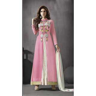 FABLIVA Pink  White Embroidered Georgette Anarkali Suit