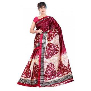Kvsfab Pink & Cream Silk Printed Saree Without Blouse