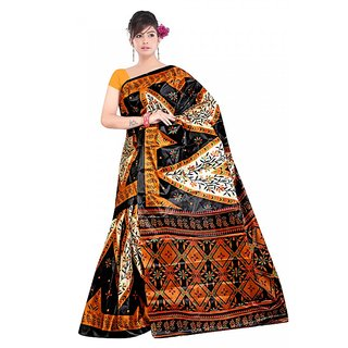 Kvsfab Multicolor Silk Printed Saree Without Blouse