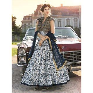 Thankar Off White  Navy Blue Printed Pure Bhagalpuri Digital Print Anarkali Suit