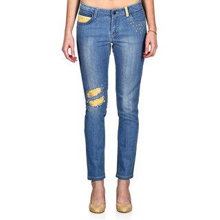 Indie Jeans Blue Cotton Slim Fit Mid Waist WomenS Jeans