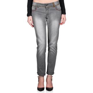 Indie Jeans Grey Cotton Slim Fit Mid Waist WomenS Jeans