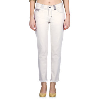 Indie Jeans White Cotton Slim Fit Mid Waist WomenS Jeans