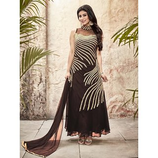 LADYVIEW Brown Embroidered Georgette Straight Suit