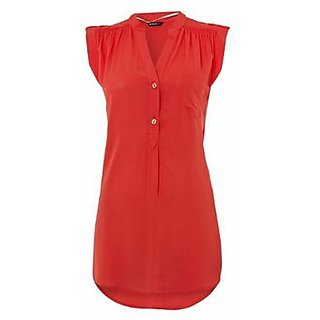 Womens cotton Rayon Red top