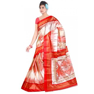 Kvsfab Red & Cream Silk Printed Saree Without Blouse