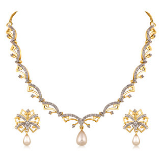 Inaya Best Selling White Stone With Pearl American Diamond Necklace