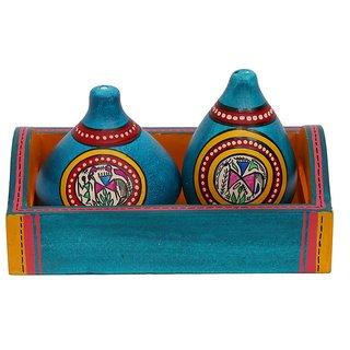 Indikala Warli Painted Earthen Salt n Pepper Shaker with Wooden Tray (IK-01-400)