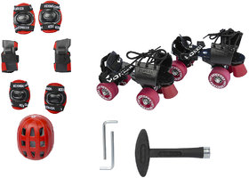 COMBO OF ADJUSTABLE SKATES TENACITY (YS1204) RED-JUNIOR SIZE  FOUR IN ONE PROTECTION KIT