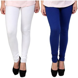 Stylobby White and Blue Leggings For Girls Pack of 2