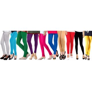 Aashish Fabrics Multicolor Cotton Lycra Leggings (Set Of 10)