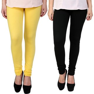 Stylobby Yellow and Black Leggings For Girls Pack of 2