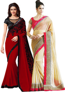 Bhuwal Fashion Combo of 2 Multicolor Georgette Embroidered Saree With Blouse