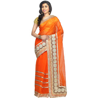 Shree Saree Kunj Orange Supernet zari work Saree