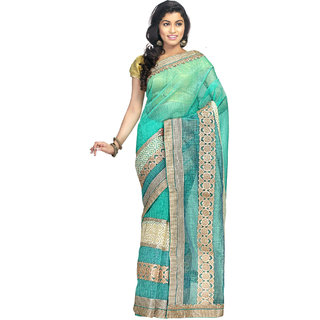 Shree Saree Kunj Blue Color zari Thread Emroidered Work