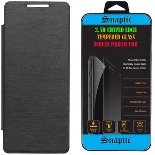 newest 047d3 7775e Snaptic Black Flip Cover for Micromax Bolt Supreme Q300 with 25D HD  Tempered Glass