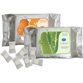 Ginni Refreshing Facial Wipes-Aloevera  Orange (Pack Of 2)(30 Wipes Per Pack) + 50 Coin Tissue(Each Tissue In Candy Pack)
