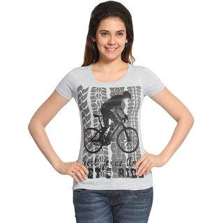 Wolfpack Grey Cotton Round Neck Half Sleeve Printed T-Shirt