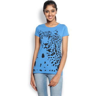 Wolfpack Blue Cotton Round Neck Half Sleeve Printed T-Shirt