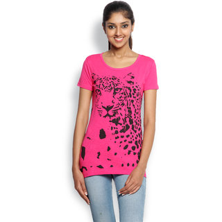 Wolfpack Pink Cotton Round Neck Half Sleeve Printed T-Shirt