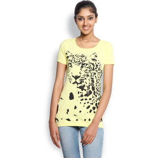 Wolfpack Yellow Cotton Round Neck Half Sleeve Printed T-Shirt