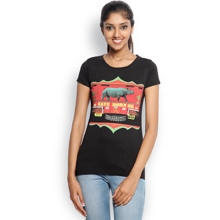 Wolfpack Black Cotton Round Neck Half Sleeve Printed T-Shirt