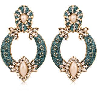 Inaya Blue color Alloy Chandelier Earrings