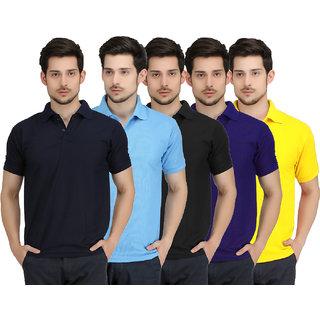 Krazy Katz Hunk Polo Neck T Shirt for men (Pack of 5)