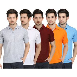 Krazy Katz Hunk Polo Neck T Shirt for men (Pack of 5)
