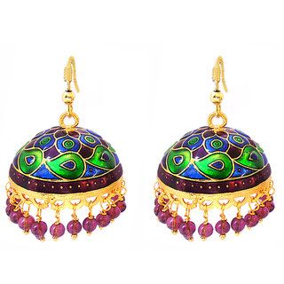 Womens Ethnic Black Red Tokri Jhumki