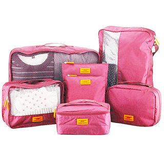 M Square Smart Traveler Set of 7 Pink Organizer by Viso