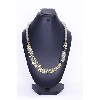 Lss Mix White Colours Stone With Pearl Necklace  IMN20150132