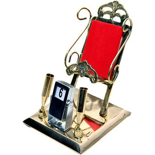 Glori-fyi Brass Antique Handcrafted Mobile-stand with Pan-holders and Calendar Showpiece