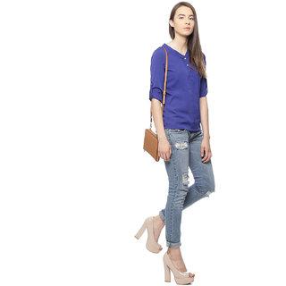 Vvoguish Blue Crepe Shirt Collar Long Sleeve Top