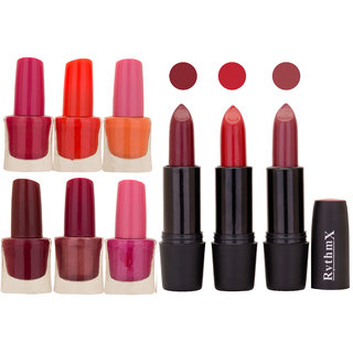 NEW NEON IMPORTANT NAIL POLISHES AND BLACK LIPSTICKS COMBO 044
