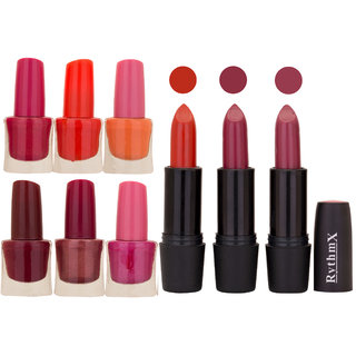 NEW NEON IMPORTANT NAIL POLISHES AND BLACK LIPSTICKS COMBO 045