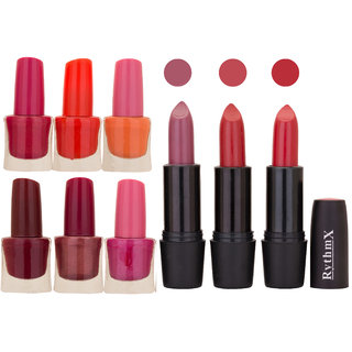 NEW NEON IMPORTANT NAIL POLISHES AND BLACK LIPSTICKS COMBO 046