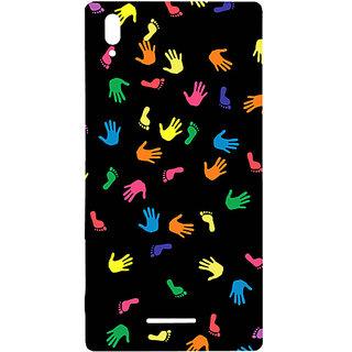 Casotec Multicolored Prints Design Hard Back Case Cover for Sony Xperia T3