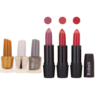 NEW NEON IMPORTANT NAIL POLISHES AND BLACK LIPSTICKS COMBO 064