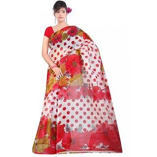 Kvsfab Red & White Net Printed Saree Without Blouse