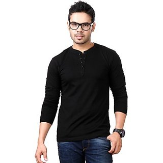 Solid Mens Henley Black T-Shirt