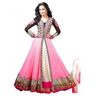 Pink Semi Stitched Georgette And Net Anarkali Salwar Suit